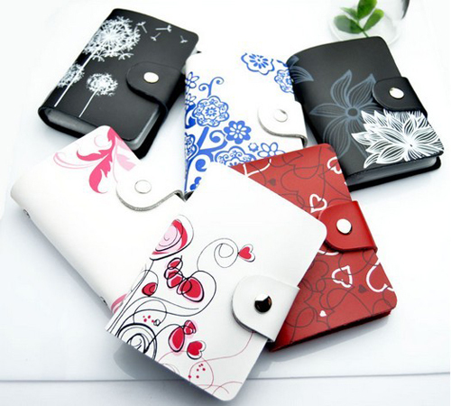 Min-order-10usd-New-2013-Girl-26-slots-5Color-Genuine-leather-flower-print-lady-font-b